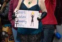 Protestors at SlutWalk Aotearoa in Auckland. Photo / Michael Craig
