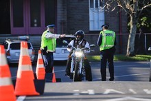 Police checkpoint on Brentwood Avenue where a Hells Angels gathering was held on Saturday. Photo / Herald On Sunday/Jason Dorday.