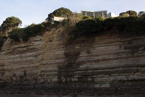 A swimming pool hangs over the edge of the cliff  between Waiake Beach and Browns Bay. Photo / Paul Estcourt