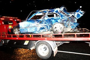 The car in which the young men died in last night's collision. Photo / Christine Cornege