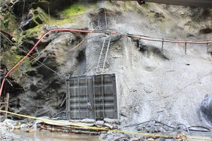 A container being used as an airlock to allow access to the Pike River mine. Photo / Herald on Sunday