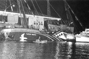 The original 'Rainbow Warrior' which was sunk on Auckland Harbour, July 1985. Photo / NZ Herald