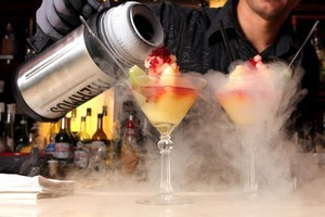 A specialty at Suite Bar - sorbet cocktail made with liquid nitrogen. Photo / file
