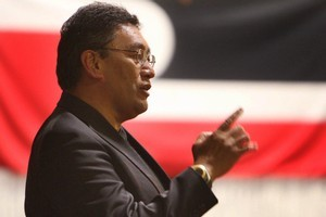 Hone Harawira on election night at the Far North Recreation Centre in Kaitaia. Photo / Northern Advocate