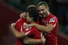 The Reds celebrate a try. Photo / Getty Images