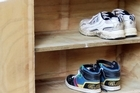 Greig Morgan's DIY shoe cupboard. Photo / Doug Sherring