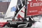 Team NZ in action during the Boston round. Photo Lloyd Images/Extreme Sailing Series