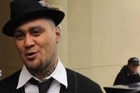 Tiki Taane talks to media outside Tauranga District Court about singing the NWA song which got him arrested.
