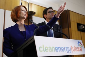 Australian Prime Minister Julia Gillard talks during the government's announcement of the Carbon Tax plan. Photo / Getty Images