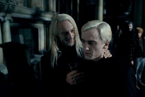 The henchman and the bully: Jason Isaacs as Lucius Malfoy and Tom Felton as Draco Malfoy. Photo / Supplied