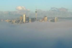 Fog over Auckland City viewed from Mt Victoria, Devonport. Photo / Brett Phibbs