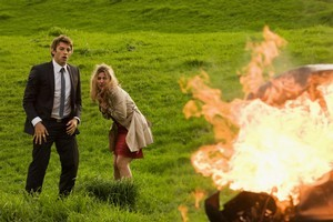 Beth Allen's (Brook Freeman) and Ido Drent's (Daniel Potts) shock at the car explosion is not just acting. Photo / Supplied