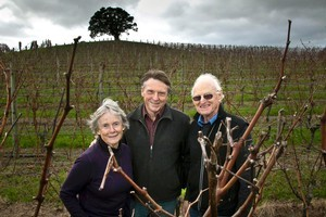 Vineyard founders Jeanette Goldwater and Kim Goldwater (right) with University of Auckland wine science director Randy Weaver. Photo / Supplied