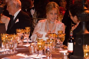 Barbra Streisand with a bottle of Villa Maria private bin Merlot on her table. Photo / Supplied