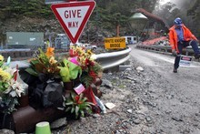 Flowers at the Pike River mine, where 29 miners lost their lives. Photo / Iain McGregor