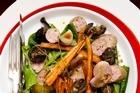 Toulouse sausage and snail salad. Photo / Babiche Martens