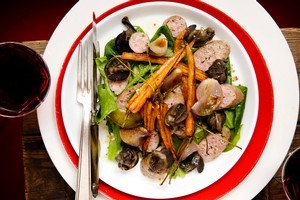 Toulouse sausage and snail salad. Photo / Babiche Martens
