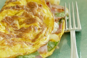 Parisian omelette with country ham and gruyere cheese. Photo / Nicola Topping