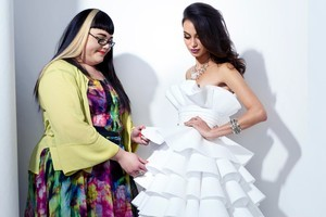 Rachael Duval (L) with her dress 'Gentle Waves'. Photo / Sally Elton