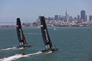 Most of the Louis Vuitton Cup will be one-on-one match racing. Photo / Supplied