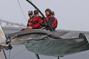 Team New Zealand tries out one of its new 33ft catamarans on the Waitemata Harbour. Photo / Getty Images