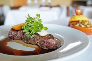 Bowmans' dry aged New York strip with mustard spaetzle, mushroom and pancetta. Photo / Richard Robinson