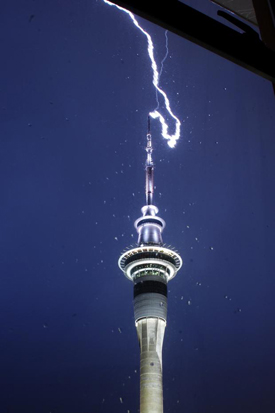 Lightning striking the skytower at 4am on Sunday morning. Photo / Leigh Maffey