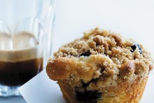 Blueberry crumble muffins. Photo / Chris Court