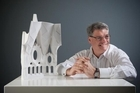Mark Burry with a model of part of the nave of Sagrada Familia. Photo / Mark Burry