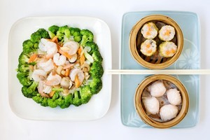 Prawn and combination vegetable and steamed dim sum dishes at Star Cafe Seafood in Epsom. Photo / Babiche Martens