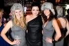 Annabel Fay (centre) with Jessica Hart-Josephs (l) and Olivia Jones (r) at the Russian Standard Vodka end of year party. Photo / supplied