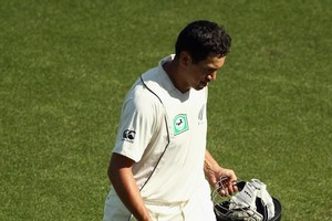 Ross Taylor of New Zealand walks off after being run out by Umar Gul of Pakistan during day three of the First Test match between the New Zealand Black Caps and Pakistan. Photo / Getty Images