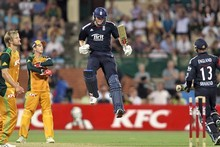 Chris Woakes of England celebrates as he hits the winning runs. Photo / Getty Images 