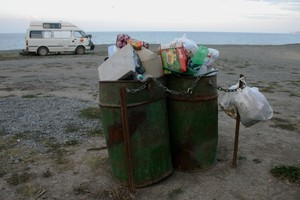 Rubbish overflowing at the Clifton Road freedom camping Reserve site in Hawkes Bay. Photo /Supplied