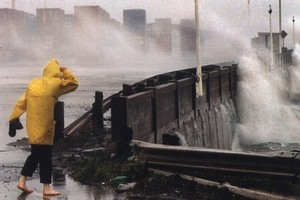 Huge seas pound the Ports of Auckland during Cyclone Drena in 1997. Photo / NZ Herald