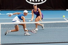 Marina Erakovic and Sofia Arvidsson in action against Alize Cornet and Edina Gallovits during the ASB Classic doubles semi-final. Photo / Dean Purcell