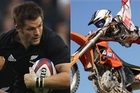 All Black captain Richie McCaw, left, and Levi Sherwood. Photo / Getty