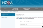 Detail of the NZQA website where results can be accessed. 