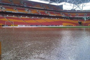 The soccer pitch at Suncorp Stadium is totally water logged. Photo / Courtesy Seven Network Australia – Brisbane News'