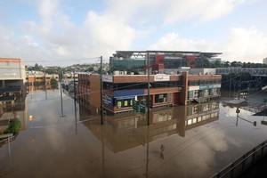 Castlemaine Street in the suburb of Milton is flooded in Brisbane, Australia. Photo / Getty Images