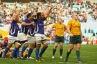 Samoa celebrate their historic win over Australia. Photo / Getty Images