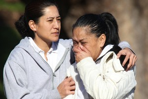 Relatives of Daniel Stoneham grieve after hearing hi body has been found. Photo / Greg Bowker