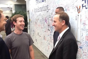 John Key meets Mark Zuckerberg at Facebook HQ. Photo / supplied