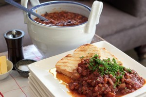 Baked beans take on a whole new meaning when made from scratch. Photo / Doug Sherring