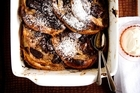Chocolate croissant bread and butter pudding. Photo / Babiche Martens