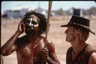 David Ngoombujarra, left, with Paul Hogan in a scene from 'Crocodile Dundee in Los Angeles.' Photo / File
