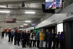 Spectators line up for a coffee in the South Stand of Eden Park, Auckland. Photo / Brett Phibb