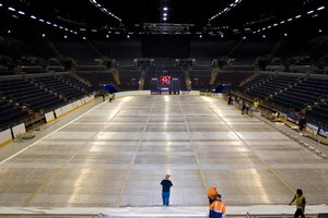 A $4.2 million rink has been imported from Holland and set up in Vector Arena. Photo / Richard Robinson