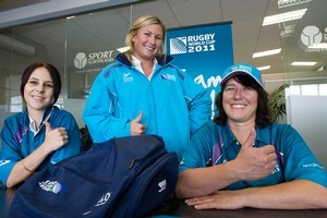 Volunteers Hannah Milich, Vanessa Wards and Robyn Clotworthy are eager for the RWC to start. Photo / APN