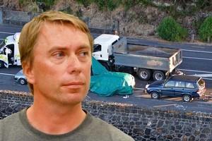 Glenn Hilton Becker (inset) and the scene where Jane Mary Bishop died on Tamaki Drive. Photo / NZ Herald